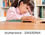 little school girl wearing an... | Shutterstock . vector #204330964