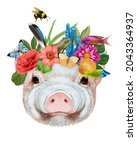 Portrait Of Piggy With A Floral ...