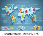 3d vector world map... | Shutterstock .eps vector #204342775
