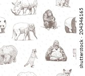 animals drawings seamless... | Shutterstock .eps vector #204346165