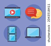 multimedia content icon set on... | Shutterstock .eps vector #2043518411