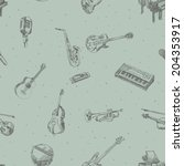 music instruments seamless... | Shutterstock .eps vector #204353917
