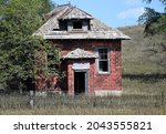 Old Abandoned  Red Brick School ...