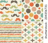 vector set of seamless hipster... | Shutterstock .eps vector #204356731