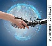 robot and human handshake.... | Shutterstock . vector #204361294