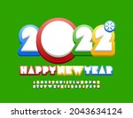 vector greeting card happy new... | Shutterstock .eps vector #2043634124