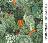 hand drawn vintage vegetables.... | Shutterstock .eps vector #2043664511