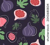 seamless pattern with fruits...   Shutterstock .eps vector #2043680834