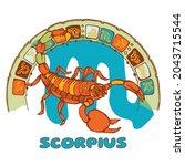 scorpio constellation. zodiac... | Shutterstock .eps vector #2043715544
