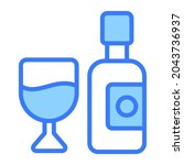 wine vector blue outline icon.... | Shutterstock .eps vector #2043736937