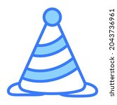 party cone vector blue outline... | Shutterstock .eps vector #2043736961