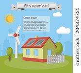 wind power plant solar energy...   Shutterstock .eps vector #204374725