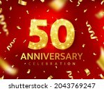 anniversary 50 year red card.... | Shutterstock .eps vector #2043769247