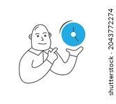 a cute cartoon man holding a... | Shutterstock .eps vector #2043772274