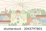 cozy sunny town for your design   Shutterstock .eps vector #2043797801
