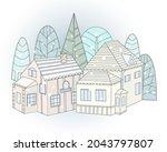 little snow town. winter...   Shutterstock .eps vector #2043797807