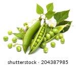 Fresh Garden Peas  On A  White...