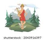 hermes  ancient greek god of... | Shutterstock .eps vector #2043916397