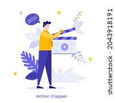 clapper loader using... | Shutterstock .eps vector #2043918191