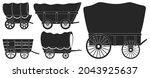 wild west wagon vector black...   Shutterstock .eps vector #2043925637