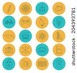 flat lines icons of science and ... | Shutterstock .eps vector #204393781