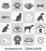 pet icons set | Shutterstock .eps vector #204414349
