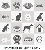pet icons set | Shutterstock .eps vector #204414349