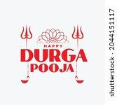 happy durga puja flat...   Shutterstock .eps vector #2044151117