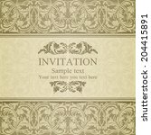 baroque invitation card in old... | Shutterstock .eps vector #204415891