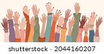 raised hands and arms of multi... | Shutterstock .eps vector #2044160207