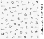 background with dog and cat paw ...   Shutterstock .eps vector #204416041