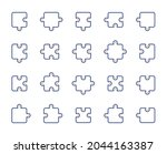 puzzle line icons. jigsaw...   Shutterstock .eps vector #2044163387