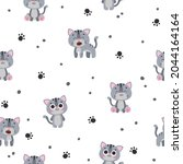 seamless pattern with cute gray ... | Shutterstock .eps vector #2044164164
