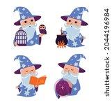the set of cartoon wizard. the... | Shutterstock .eps vector #2044196984