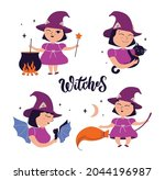 the set of cartoon witches. the ... | Shutterstock .eps vector #2044196987