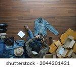 top view of selling online...   Shutterstock . vector #2044201421