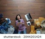 top view of women working smart ...   Shutterstock . vector #2044201424
