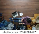 top view of women working smart ...   Shutterstock . vector #2044201427