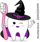 cute cartoon tooth character... | Shutterstock .eps vector #2044203494