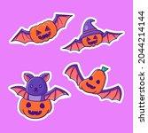 halloween cute pumpkin bat... | Shutterstock .eps vector #2044214144