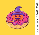 cute witch pumpkin in donuts... | Shutterstock .eps vector #2044215341