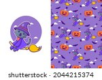 cute black cat witch happy... | Shutterstock .eps vector #2044215374