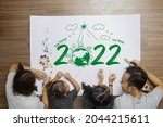 top view happy family lying on...   Shutterstock . vector #2044215611