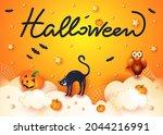 halloween background with cat ... | Shutterstock .eps vector #2044216991
