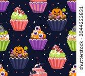 halloween cupcakes  seamless... | Shutterstock .eps vector #2044223831