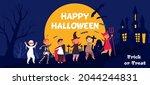 happy halloween kids. kid in... | Shutterstock .eps vector #2044244831