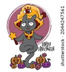 cute black cat in a witch hat... | Shutterstock .eps vector #2044247561