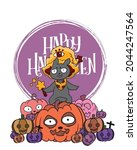 cute black cat in a witch hat... | Shutterstock .eps vector #2044247564