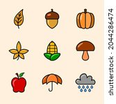 9 sets of autumn icons with... | Shutterstock .eps vector #2044286474