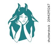 sketch of a girl with horns. a... | Shutterstock .eps vector #2044295267